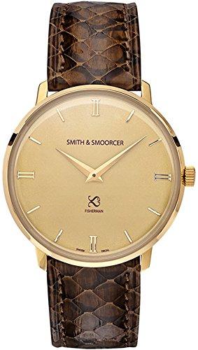Smith & smoorcer Fisherman Vintage Viper Brown Reloj para Hombre Analógico de Cuarzo Suizo con Brazalete de Piel de Serpiente F-1617-VIP-D-C-15
