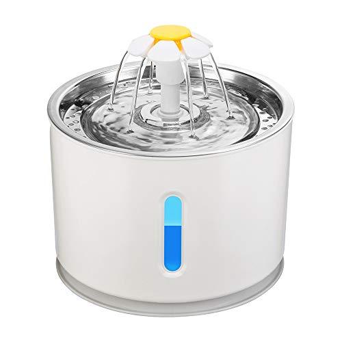 PopHMN Fuente de Agua para Gatos, Fuente de Agua para Mascotas Ultra silenciosa de 2.4L con Ventana de Nivel de Agua y luz LED, Fuente para Beber de 3 Modos, Fuente de Acero Inoxidable