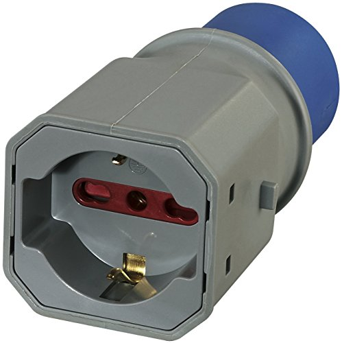 Electraline 80863Adaptador Enchufe a 3Polos Industrial IEC Enchufe polivalente (Schuko + 10/16A) Apto para Caravana, Camping, Caravan, Barco, Obra–IP20Gris