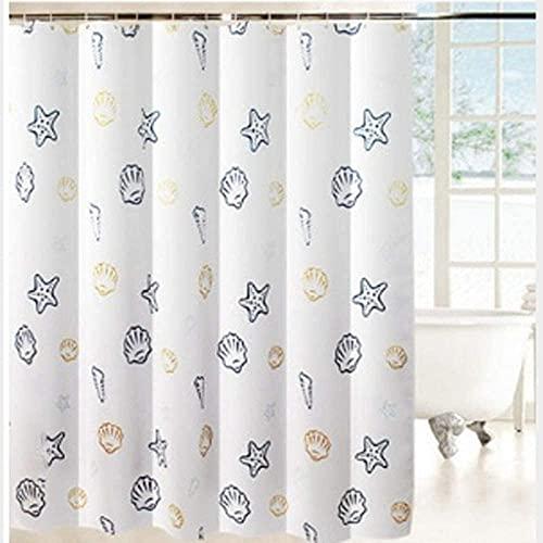 Queta Badvorhang, 180 x 200 cm, Duschvorhang/Badewanne mit Haken, wasserdicht/schimmelabweisend/antibakteriell, maschinenwaschbar, Ozean-Stil