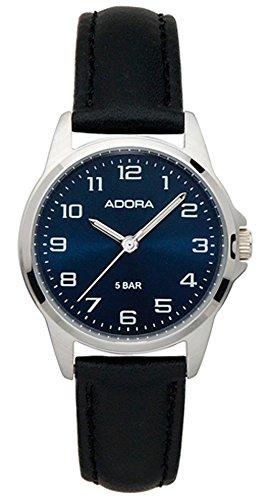 Damenuhr Armbanduhr Analoguhr Edelstahluhr mit Lederband Adora 29400, Variante:03