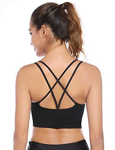 Aibrou Sport BH Rücken Verkreuzt ohne Bügel Yoga BH Atmungsaktiv Schock Absorber Compression Top Gepolstert Schwarz L