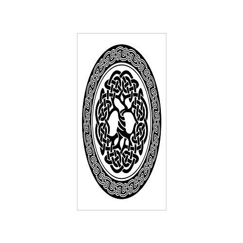 Decorative Privacy Window Film/Native Celtic Tree of Life Figure Ireland Early Renaissance Artsy Modern Design/No-Glue Self Static Cling for Home Bedroom Bathroom Kitchen Office Decor Black White