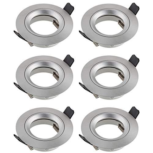 SEBSON Einbaustrahler rund Alu gebürstet 6er Pack, Einbaurahmen Lochdurchmesser 65mm, Decken Spot inkl. GU10 Fassung für LED/Halogen