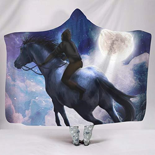 kikomia Manta de forro polar con capucha vintage Boy en caballo, luna y noche, impresin de ensueo con capucha, color blanco, 130 x 150 cm
