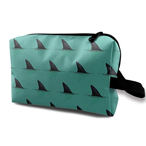 Hark Fins in The Sea Danger Portable Travel Cosmetic Bags Makeup Organizer Bags Grande Capacity Toiletry Organizer Cases Travel Pouch Purse