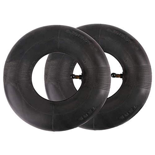 Sucute 2 neumáticos de 4,10/3,50 – 4 pulgadas para carretilla de mano, carro de mano, carro de mano, jardín, cortacésped, tubo de repuesto 4,10 – 4, color negro