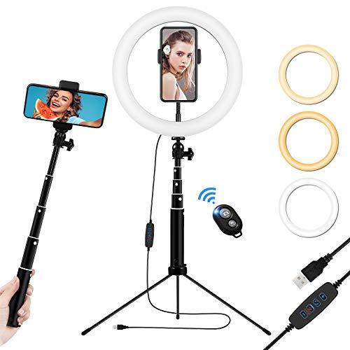 10.2  Ring Light Telefono, Luce ad Anello LED con Treppiede per Selfie, Ringlight da Tavolo Alta con Telecomando Wireless, Lampada Anulare Regolabile per TikTok, Trucco, Fotografia, Youtube e Video