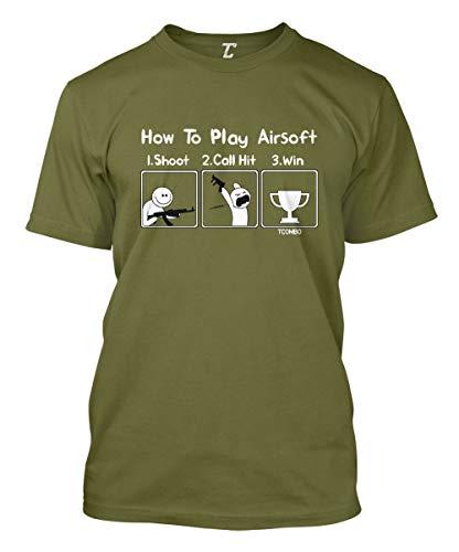 How to Play Airsoft - Gun Game Sport Men's T-Shirt (Olive, Medium)