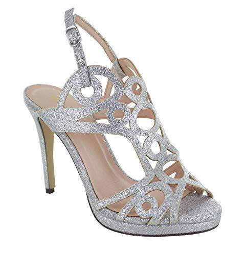 Menbur Tulni Sandalen/Sandaletten Damen Silbern - 40 - Sandalen/Sandaletten Shoes
