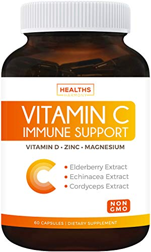 Immune Support - Vitamin C with Zinc, Vitamin D, Elderberry & Echinacea (Non-GMO) Immune System Booster Supplement - VIT C 500mg - 60 Vegetarian Capsules (No Pills, Tablets, or Gummies)