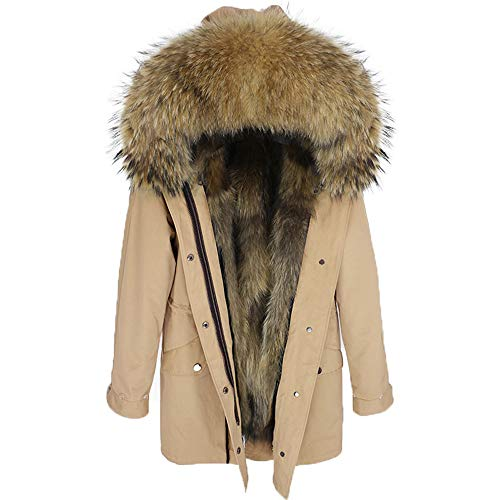 Lea Marie Damen Luxury Parka XXL Kragen aus 100% ECHTPELZ ECHTFELL Jacke Mantel Fuchspelz Innenfutter (S, Beige)