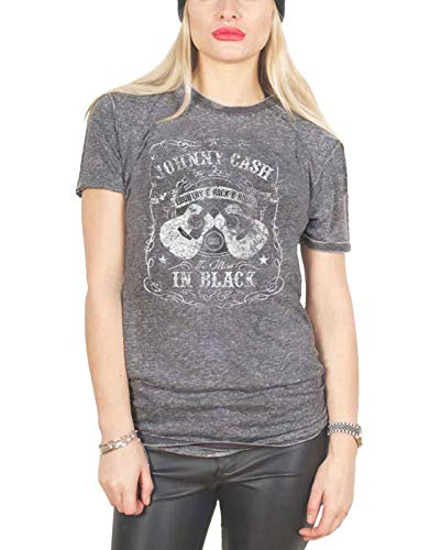 Johnny Cash T Shirt The Man In Black Logo Official Womens Charcoal Grey Burn Out Size XXL