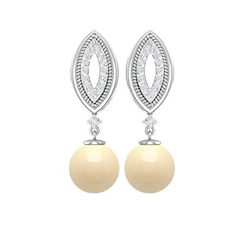 Pendientes de perlas cultivadas japonesas de 5 quilates, pendientes de perlas de diamante de 1/3 quilates, pendientes grabados en oro, pendientes de boda únicos, tornillo hacia atrás