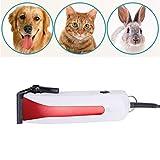 Con cable Clippers perro, mascota Clippers kits de cuidado personal, de poco ruido eléctrico Pet Trimmer Trimmer pelo con peines 4 Guía de tijeras de uñas Kits Clipper para el gato del perro,Rojo