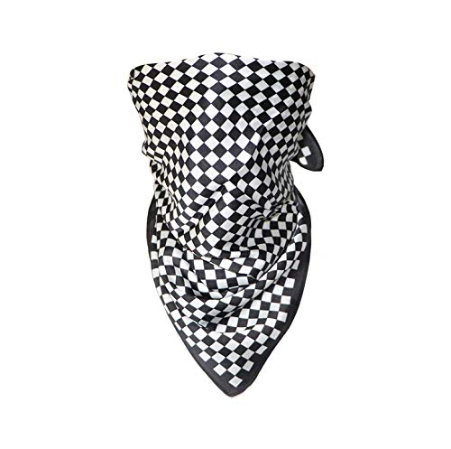 Rave Bandana Headband Scarf Neck Face Mask for Men Women Checkerboard Black White Festival Clothing EDM