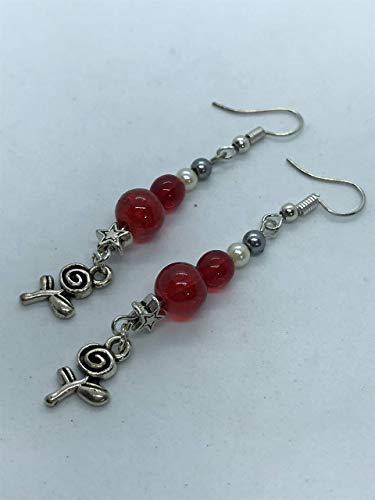 Rose and star with red bead earrings by Susan Craker