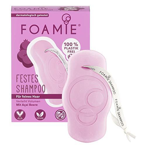 Foamie Festes Volumen Shampoo für feines Haar mit Acai-Beeren und Mandelextrakt, 100% vegan, plastikfrei und ohne Tierversuche, sorgt für mehr Volumen, 80g