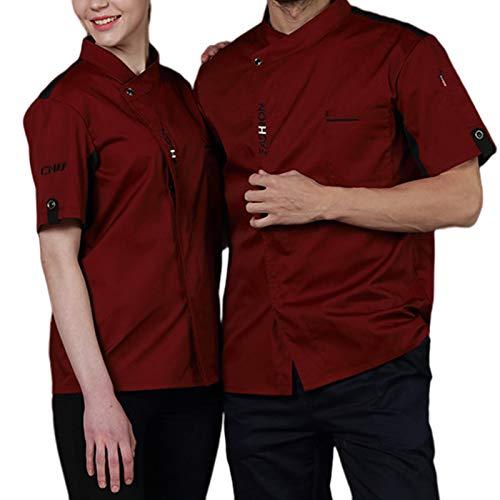 DNJKH Unisex Koch Jacke, Schnell Essen Koch Uniform, Mit Taschen Hotel Arbeitskleidung