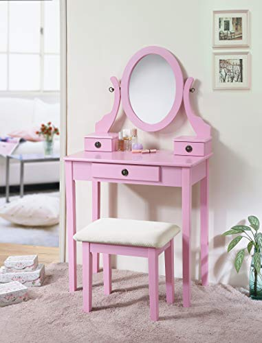 Roundhill Furniture Moniys Moniya Pink Wood Makeup Vanity Table and Stool Set