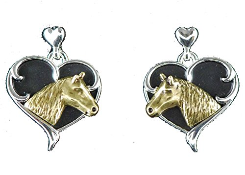 Western horse lover jewelry quarter horsehead in heart black enamel filled post earrings