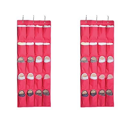Parshall 2 estantes para zapatos para colgar detrás de la puerta, organizador de bolsas para colgar en la pared, bolsa de almacenamiento, 2 unidades, color rojo