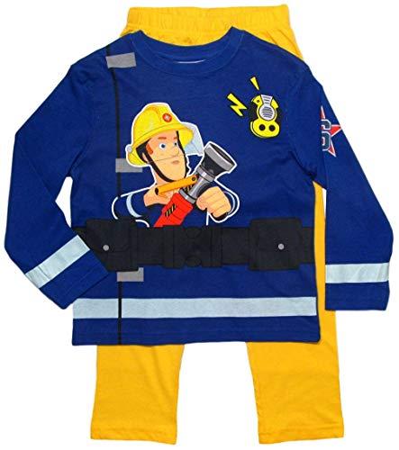 Feuerwehrmann Sam Schlafanzug Jungen Lang Pyjama (Blau-Gelb, 98)