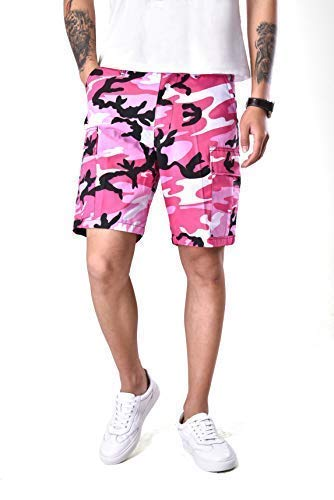 Backbone Mens Army Tactical Military BDU Camouflage Shorts Work Fishing Camping Casual Cargo Shorts (Pink Camo,Size 40)