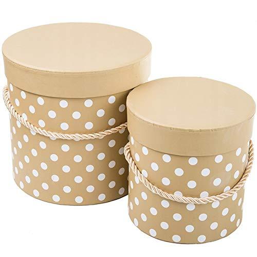 VIPOLIMEX 2er Set Blumenbox mit Punkten, Geschenkschachtel mit Goldener Kordel, Dekobox mit einfarbigem Deckel, Hutschachtel, Aufbewahrungsbox (Braun 2er Set)
