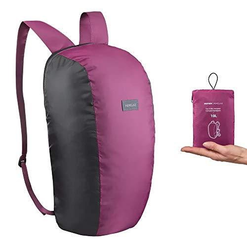 Forclaz - Zaino da viaggio da 10 litri, colore viola, per escursioni, uomo, donna, unisex, per lo shopping robusto, per sport, ciclismo, studio, scuola