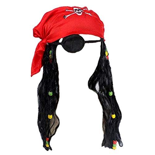 El Pirata Peluca Realista Capitán Del Pañuelo Diversión Accesorios De Vestuario Para Hombres, Mujeres