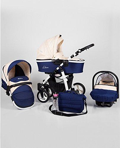 Kinderwagen Aluminium beige und blau zusammen 3in 1Ultra Leicht mit Cosy Autositz Babyschale Sitz Kinderwagen und Sonnenschirm gratis