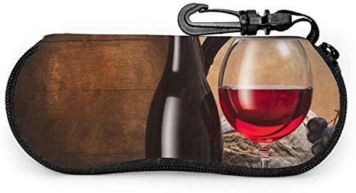 MODORSAN Wein Tapete Sonnenbrille Soft Case Reißverschluss Brillenetui Schutzhalter mit Gürtelclip