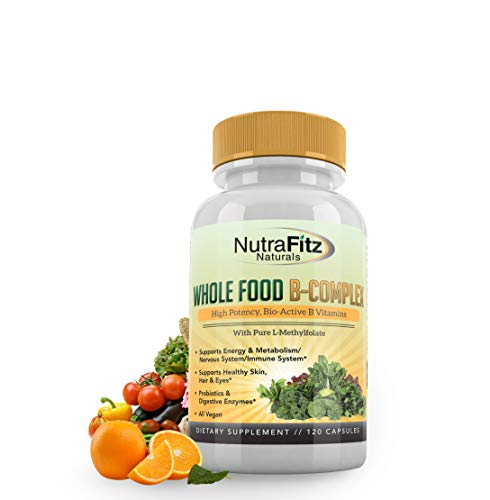 NutraFitz Naturals B Complex Vitamins Whole Food Supplement - Vitamin B12, Methyl Folate, B1, B2, B3, B5, B6, Biotin - 120 Vegan Capsules, Non GMO