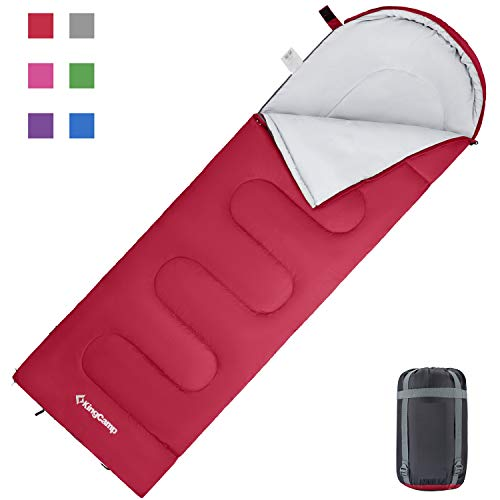 KingCamp Oasis 3-4 - Saco de Dormir para niño o Adulto, tamaño Individual, Doble, 6 Colores para Camping y Exteriores, Color Rouge L Adulte, tamaño Adulte: 220 x 75 cm 3 saisons