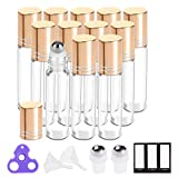 Essential Oil Roller Bottles 10ml ( Clear Glass Bottle with Gold Cap, 12 Pack, 2 Extra Stainless Steel Balls, 24 Labels, Opener, Funnels by PrettyCare) Roller Balls for Oils, Roller on Bottles