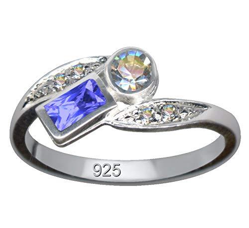 Jugendstil Weiß Blau Art Nouveau Silberring Echt Sterling Silber 925 Zirkonia Ringgröße 55 Größe 17.5mm Sterlingsilber 925er Eckig Karree Rechteck Liebe Glaube Hoffnung Symbol Jugend-Stil neu