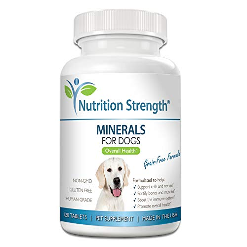 Nutrition Strength Minerals for Dogs, Support Cells & Nerves, Fortify Bones & Muscles, Promote Overall Health with Calcium, Phosphorus, Magnesium, Potassium, Selenium, Iron, Zinc, 120 Chewable Tablets