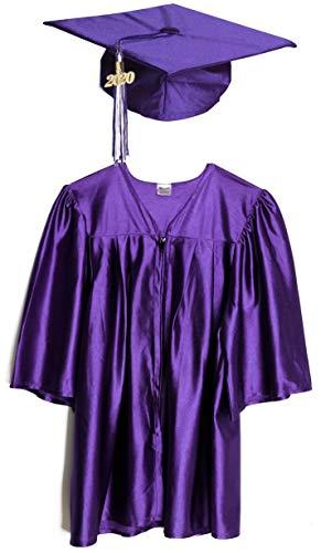 Small Purple Shiny Child Graduation Cap, Gown, Tassel and 2020 Charm