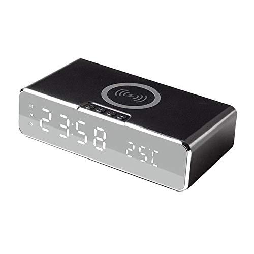 Gazechimp Temperatura de La Fecha del Día de Los Relojes de Alarma de Carga Inalámbrica de Digitaces USB LED para El Hogar - Negro