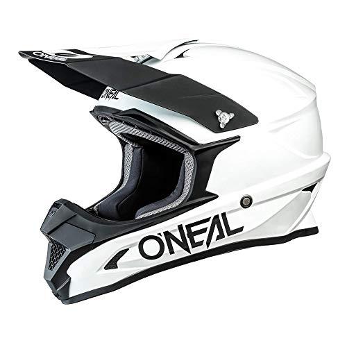 O'NEAL | Motocross-Helm | MX Enduro Motorrad | ABS-Schale, Sicherheitsnorm ECE 22.05, Lüftungsöffnungen für optimale Belüftung und Kühlung | 1SRS Helmet Solid | Erwachsene | Weiß | Größe L