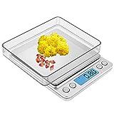 Zorara Balance Electronique-Balance de Cuisine 3KG/0.1G, Balance de Précision Cuisine avec Fonction Tare et Compte, Affichage LCD (sans Batterie (Argenté)