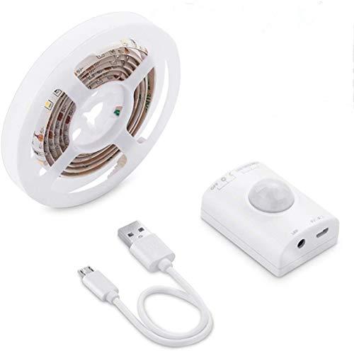 2x Bande LED Bande LED 1M avec détecteur de mouvement/Lampe de lit rechargeable par USB Armoire-penderie pour veilleuse à LED, éclairage du meuble, lumière du lit, blanc chaud