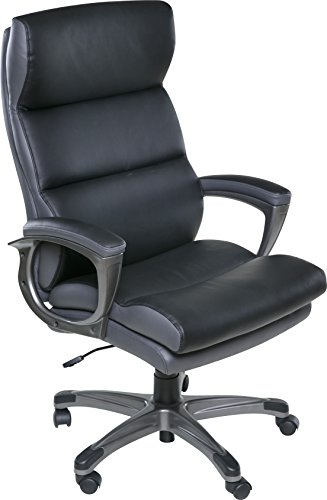 OneSpace Roosevelt High Back Two-Tone Executive Chair with Padded Armrests, Black & Gray
