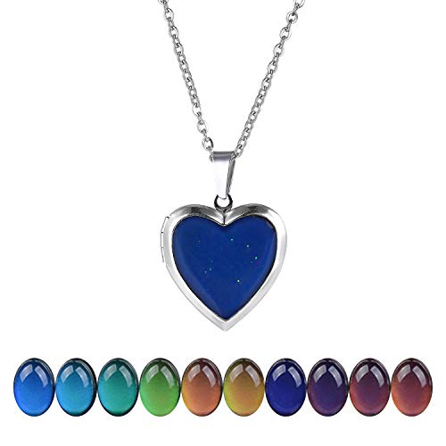 "FM FM42 Temperature Sensing Color Changing Heart Openable Locket Pendant Necklace with 19.29"" Stainless Steel Rolo Chain ZN1130"