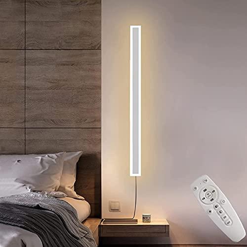 MWKL Aplique de Pared Interior LED Regulable con Control Remoto Lámpara de Pared de Tira Larga Aplique de Pared con Interruptor y Cable, Ajuste de Temperatura de Color Iluminación de Pared Living