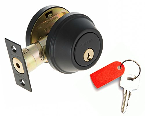 Deadbolt Lock Set Double Cylinder : Keyed Alike : Anti Bump & Pick Security Prevents Break Ins : Black Iron US514 : by TOLEDO