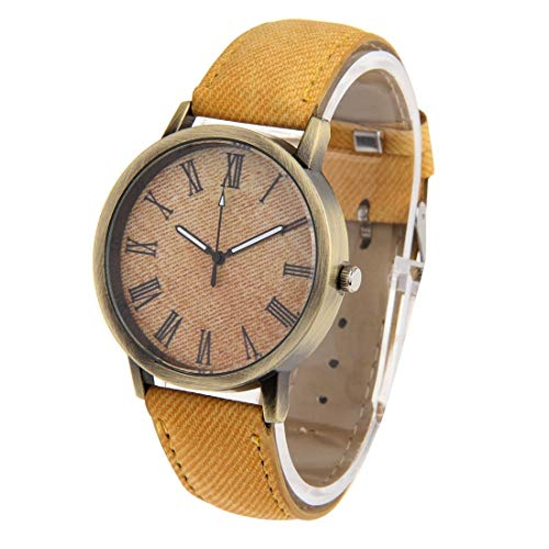 Uhren Denim Textur Stil rundes Zifferblatt Retro Digitalanzeige Damen & Herren-Quarz-Uhr mit PU-Lederband (Pink) Asun (Color : Yellow)
