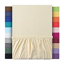 leevitex - Sábana bajera ajustable en 4 tamaños, 100% algodón, 160 g/m2, diseño pesado, naturaleza, 90-100 x 200 cm
