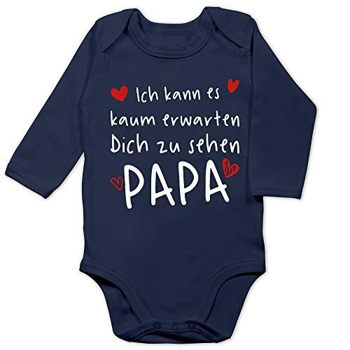 Shirtracer Vatertagsgeschenk Tochter & Sohn Baby - Ich kann es kaum erwarten Dich zu sehen Papa Herzen weiß - 3/6 Monate - Navy Blau - Geschenk - BZ30 - Baby Body Langarm